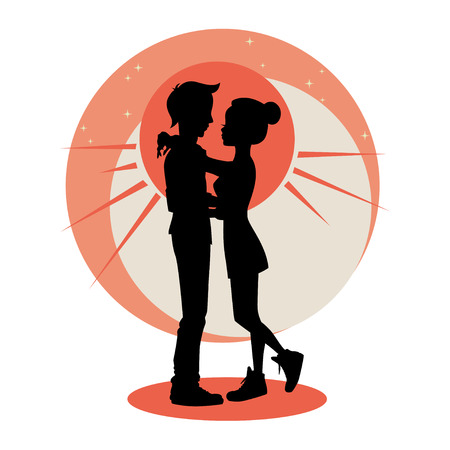 hugging: Love and relationships concept. Silhouette of young couple in love. Vector