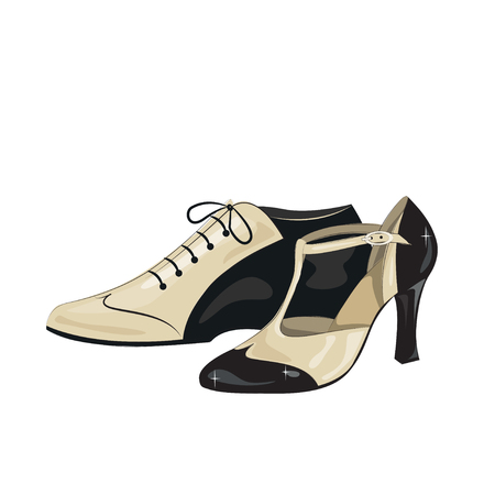 milonga: Elegant womens and mens shoes. Argentine tango dance shoes. Vector illustration, isolated on white background.