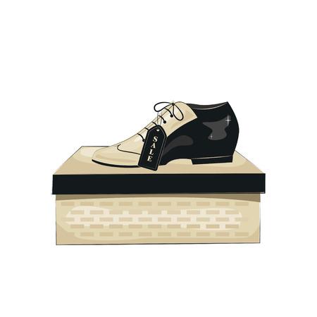 Elegant mens shoes. Argentine tango dance shoes. Vector illustration, isolated on white background.
