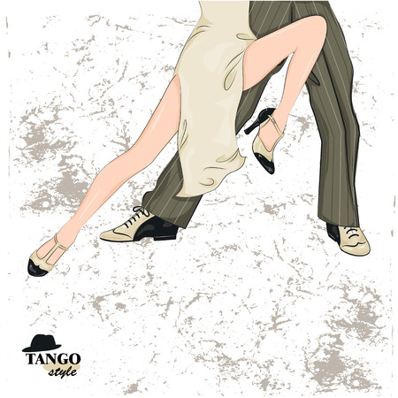 female legs: Couple dancing tango. Illustration of mans and female legs. paper