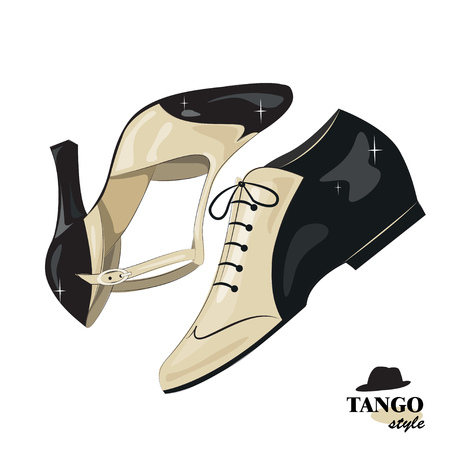 tangoing: Elegant womens and mans shoes. isolated on white background. Illustration