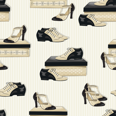 tangoing: Seamless pattern of elegant womens and mans shoes. Argentine tango, dance shoes. Illustration