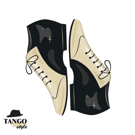 tango dance: Elegant mans shoes. Argentine tango, dance shoes. Vector illustration, isolated on white background.