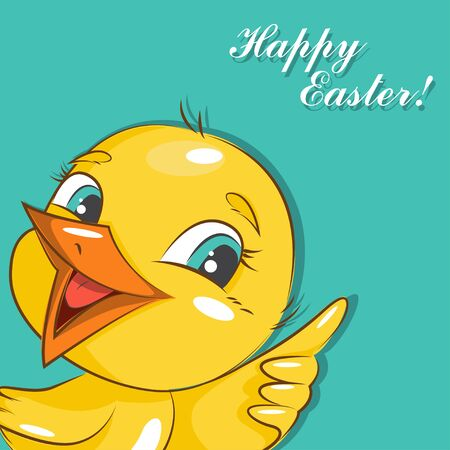 sprightly: Happy Easter! Easter card with cute little chicken.