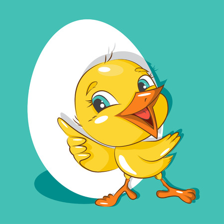 mirthful: Happy Easter! Easter card with cute little chicken. Vector