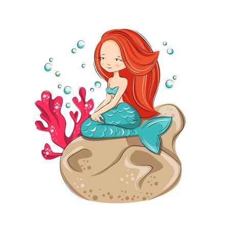 Mermaid est assis sur le récif. Elle est hôtesse monde de l'océan sous-marin. Vector illustration isolé sur fond blanc.
