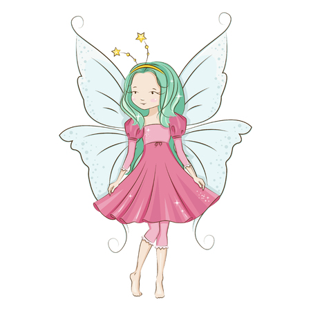 Cute little fairy. Illustration isolated on white background.
