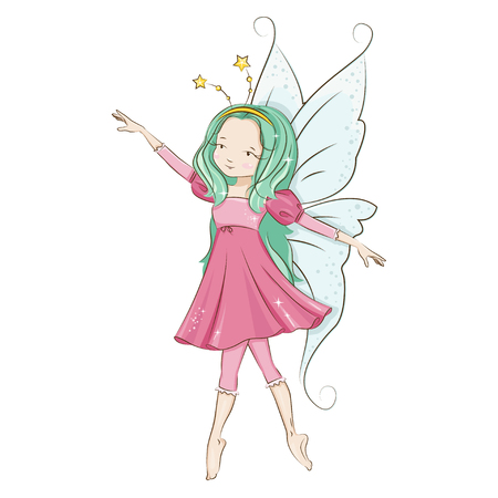 Cute little fairy dancing. Illustration isolated on white background.