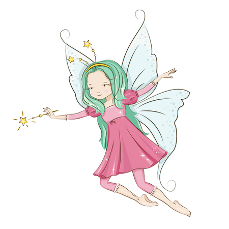 Cute little fairy with magic wand. Illustration isolated on white background.