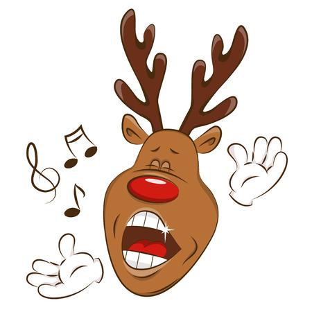 Happy deer is singing. Illustration on white background. Illustration
