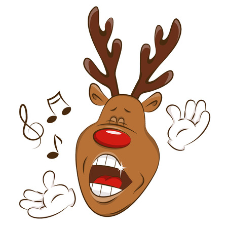 Happy deer is singing. Illustration on white background. Illustration