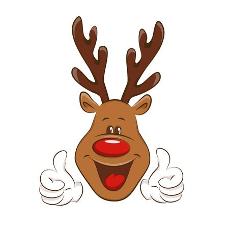 horn like: Happy deer showing ok sign. Illustration on white background. Illustration