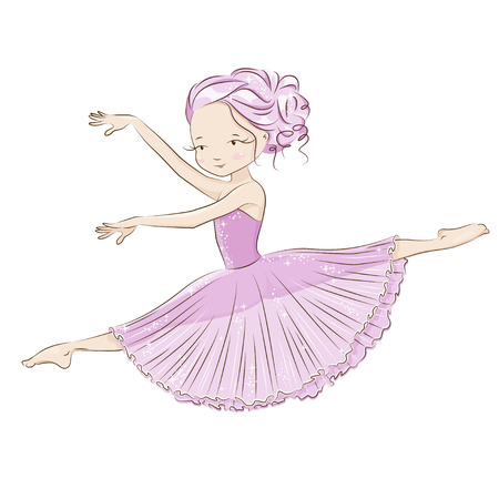 Beautiful and charming ballerina fulfills ballet pas. She is dancing in light, beautiful pink dress. Hand drawn illustration on white background. Illustration