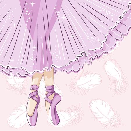 ballet clásico: Hermosa bailarina en tutú clásico. Piernas delgadas en zapatillas de ballet, zapatillas de punta. Dibujado a mano ilustración.