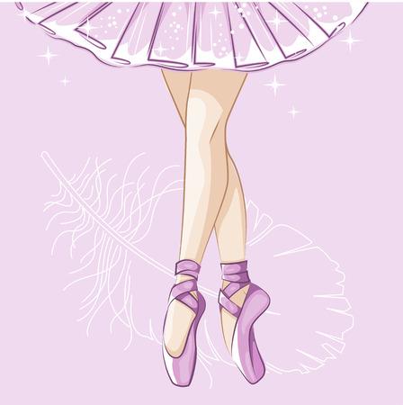 Bella ballerina in tutù classico. esili gambe in scarpette da ballo, scarpe da punta. illustrazione disegnata a mano.