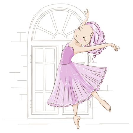 Beautiful ballerina dancing near windows. Graceful little White Swan. She is dancing in light, beautiful pink dress. Hand drawn illustration.