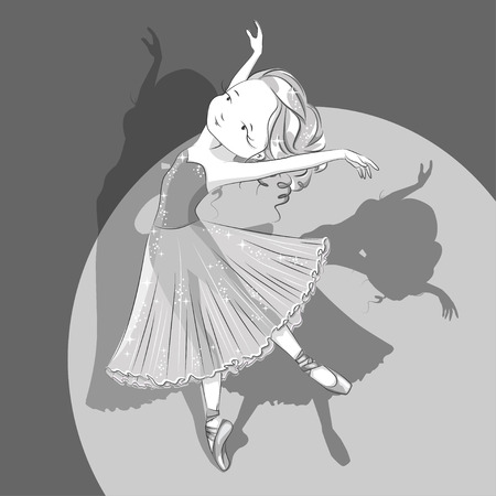 Beautiful ballerina in classical tutu .  Black and white. Slender legs in ballet slippers, pointe shoes. Hand drawn illustration.
