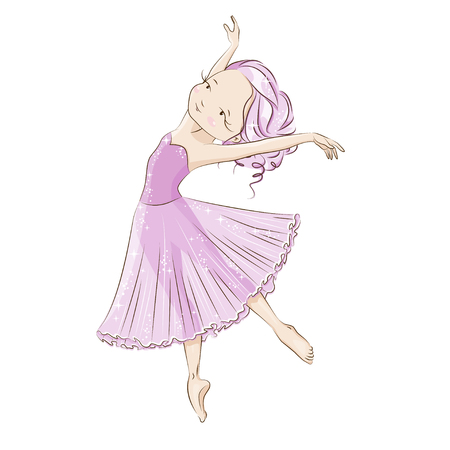 Beautiful ballerina in classical tutu on a white background. Graceful little White Swan. She is dancing in light, beautiful pink dress. Hand drawn illustration.
