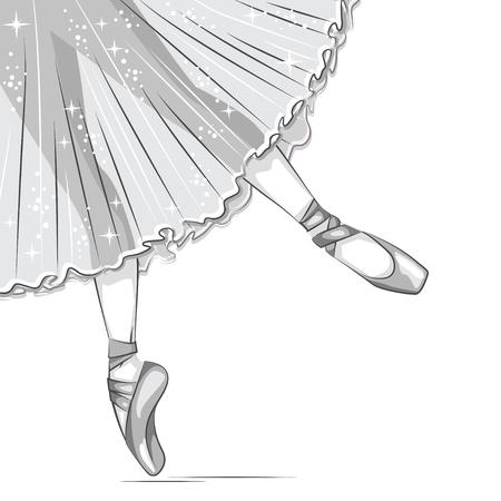 Retro illustrazione. Bianco e nero. esili gambe in scarpette da ballo, scarpe da punta. illustrazione disegnata a mano.