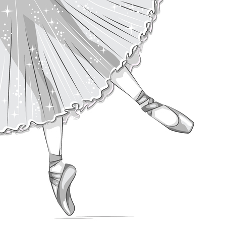 Retro illustration. Black and white. Slender legs in ballet slippers, pointe shoes. Hand drawn illustration.