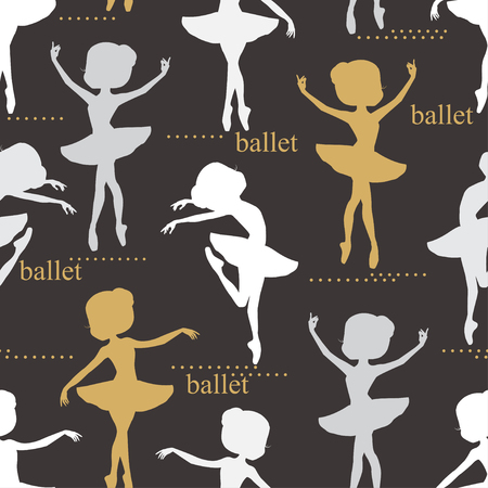 tiptoe: Pattern with silhouette of ballerinas. Retro seamless pattern. Hand drawn illustration.