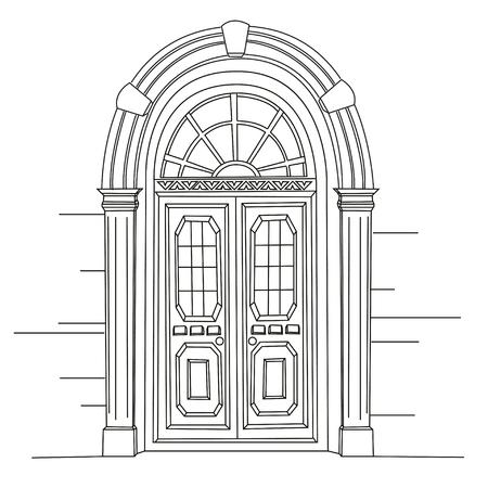 レトロなドア。アール ヌーボー。モダンなアート。ユーゲントシュティール。白い背景の上の画像。手の図面の図。