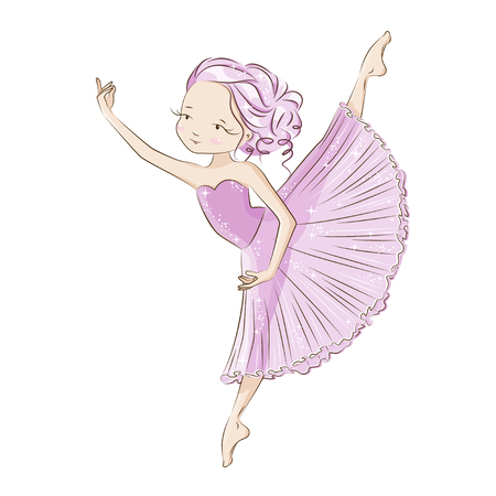 Beautiful ballerina in classical tutu on a white background. Graceful little White Swan. Hand drawn illustration.