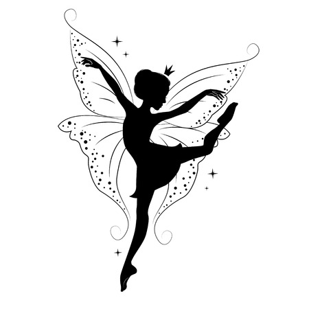 Silhouette of beautiful fairy. Hand drawn, isolated on white background.