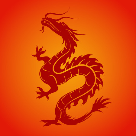 Dragon silhouette. Dragon symbol could be interpreted as the embodiment of natural forces, wisdom and the creative essence of the world - Yan. Tribal vector illustration.