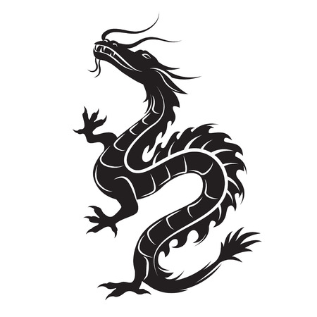 curve claw: Dragon silhouette. Dragon symbol could be interpreted as the embodiment of natural forces, wisdom and the creative essence of the world - Yan. Tribal vector. Isolated on white background.