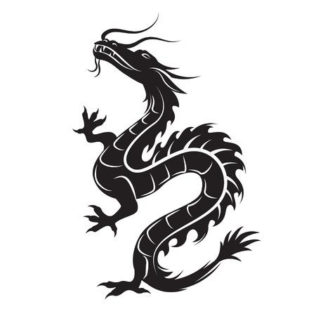 talismán: silueta del dragón. Símbolo del dragón podría interpretarse como la encarnación de las fuerzas naturales, la sabiduría y la esencia creativa del mundo - Yan. tribal vector. Aislado en el fondo blanco. Vectores