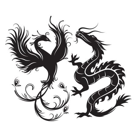 Silhouet van Phoenix vogel en draak. Symbool van evenwicht. Dragon die in een dergelijke combinatie een symbool van mannelijke Yang-energie zou zijn, terwijl Phoenix - de vrouwelijke energie belichaamt. Vector Illustratie