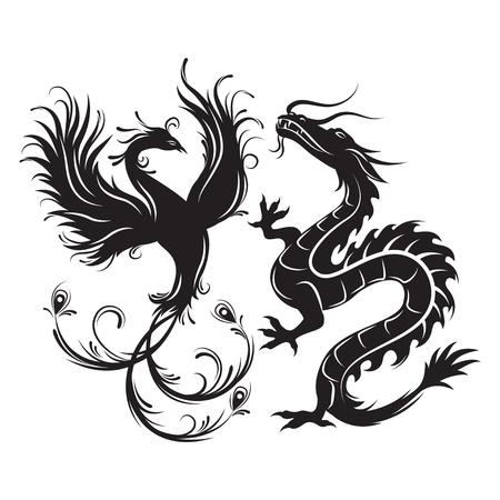 chinese phoenix: Silhouette of phoenix bird and dragon. Symbol of balance. Dragon that in such a combination would be a symbol of masculine Yang energy, while Phoenix - embody the feminine energy.