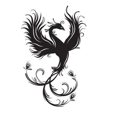 피닉스 조류 실루엣입니다. 불멸의 상징. 불 같은 새. 부족의 벡터 일러스트 레이 션. 흰색 배경에 고립. 일러스트