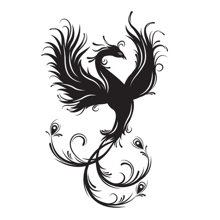 fenix: Phoenix bird silhouette. Symbol of immortality. Fiery bird. Tribal vector illustration. Isolated on white background.