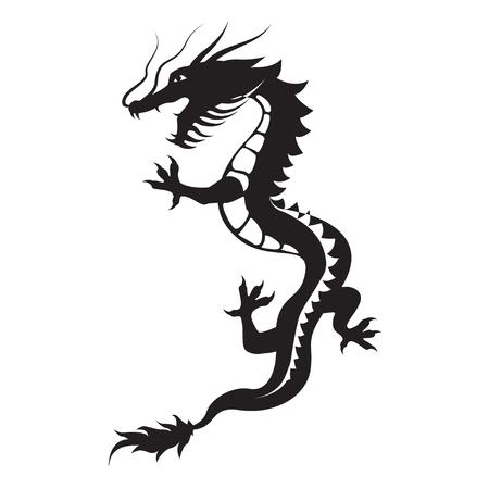 ドラゴンのシルエット。龍のシンボルは、自然の力、知恵と世界 - ヤンの創造的な本質の体現者として解釈でした。部族のベクトル。白い背景上に分離。 写真素材 - 70385492