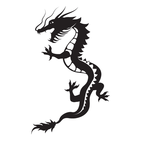 Dragon silhouette. Dragon symbol could be interpreted as the embodiment of natural forces, wisdom and the creative essence of the world - Yan. Tribal vector. Isolated on white background.