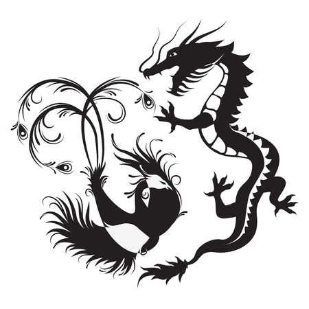 Silhouette of phoenix bird and dragon. Symbol of balance. Dragon that in such a combination would be a symbol of masculine Yang energy, while Phoenix - embody the feminine energy.