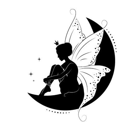 Silhouette di bella fata. disegnato a mano, isolato su sfondo bianco. Vettoriali