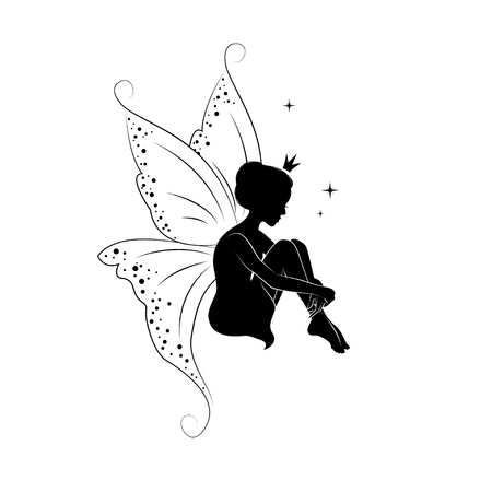 Fairies: Silhouette of beautiful fairy. Hand drawn, isolated on white background.
