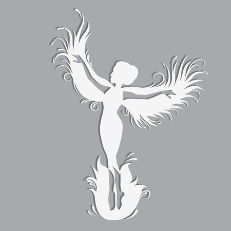 Silhouette of beautiful fairy. Template fairy for cut of laser or engraved. Stencil for paper, plastic, wood, laser cut acrylic. Decoration for windows, wall and interior design.