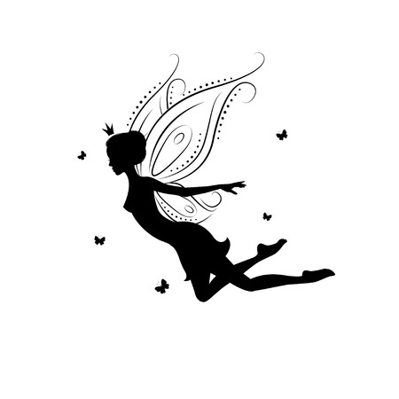 Silhouette of a fairy. Template fairy for cut of laser or engraved. Stencil for paper, plastic, wood, laser cut acrylic. Decoration for windows, wall and interior design. Vector illustration isolated on white background.