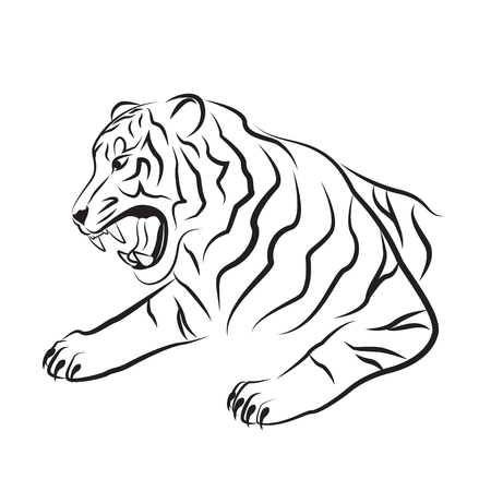 Illustration of angry tiger. Tribal art. Black tattoo. Silhouette of tiger head. Tiger black and white vector illustration. Isolated. Template and stencil for interior design.