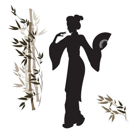 芸者と竹のシルエット。美しい日本人の女の子。手描きのイラスト。分離されました。
