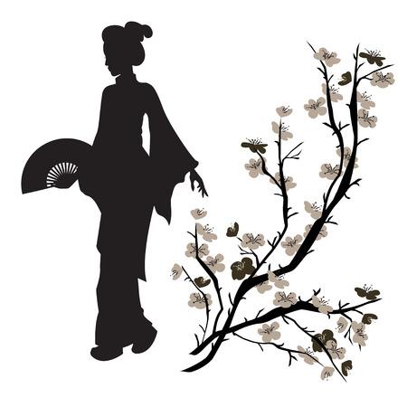 芸者と中国の梅の木のシルエット。美しい日本人の女の子。手描きのイラスト。分離されました。