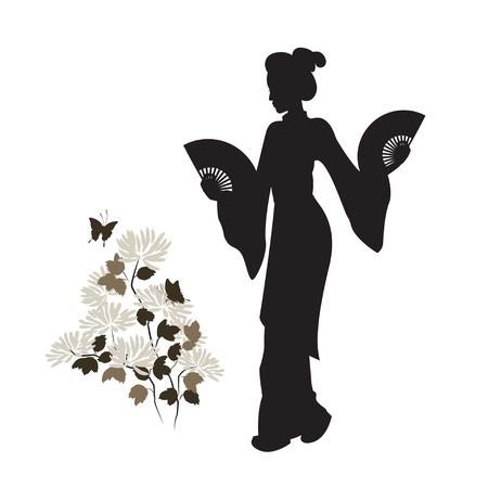 芸者、菊と蝶のシルエット。美しい日本人の女の子。手描きのイラスト。分離されました。