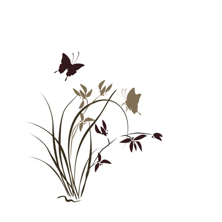 chinese ethnicity: Hand drawn illustration with orchid and butterfly. Vector isolated on white.
