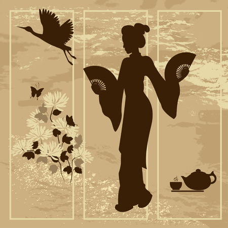 Asian woman. Oriental style painting. Hand drawing illustration with silhouette of a geisha, chrysanthemum, teapot and teacup , and crane bird.