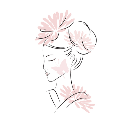 japanese ethnicity: Asian woman. Oriental style painting. Hand drawing illustration with beautiful oriental women. Vector isolated on white background.