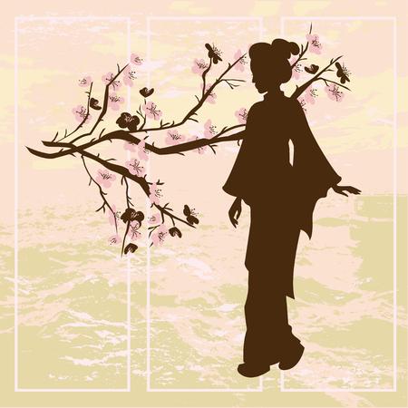 アジアの女性。オリエンタル スタイルの絵画。手描きの芸者と中国の梅の木のシルエットのイラスト。  イラスト・ベクター素材